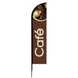 Café - Drapeau publicitaire oriflamme double faces